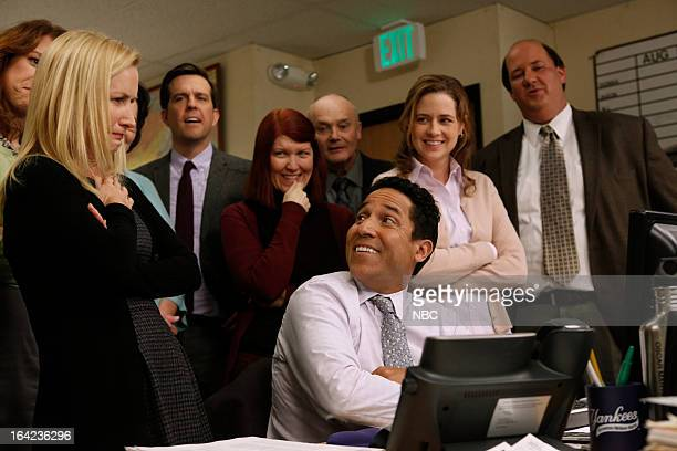 THE OFFICE Promos Episode 918 Pictured Angela Kinsey as Angela Martin Ed Helms as Andy Bernard Kate Flannery as Meredith Palmer Oscar Nunez as Oscar...