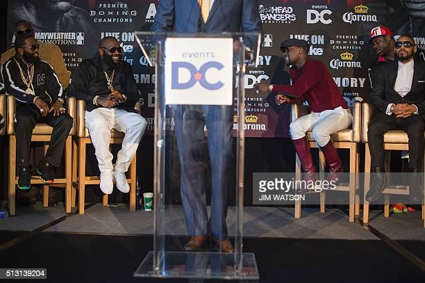 Promoter and former champion boxer Floyd Mayweather talks with US Hip Hip artist Rick Ross about the upcoming fight pitting WBA super lightweight...