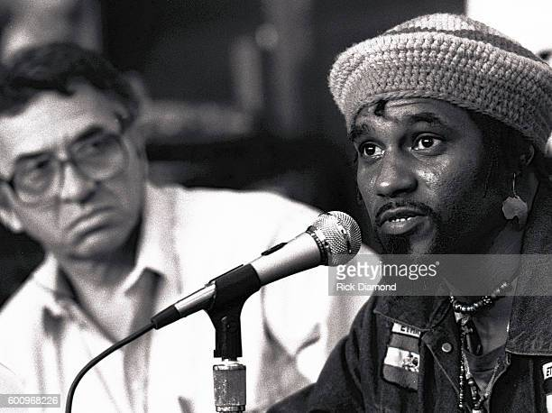 Promoter Bill Graham and Recording Artist Peter Tosh attend a press conference discussing The Conspiracy of Hope tour celebrating Amnesty...