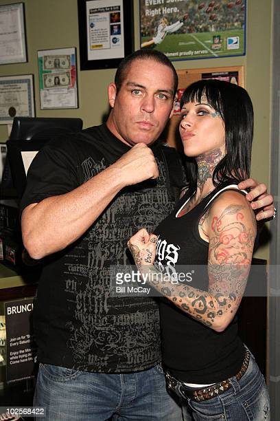 """Promoter Damon Feldman and Michelle """"Bombshell"""" McGee attend the Press Conference for her upcoming match in Celebrity Wrestling 1 at South Philly Bar..."""