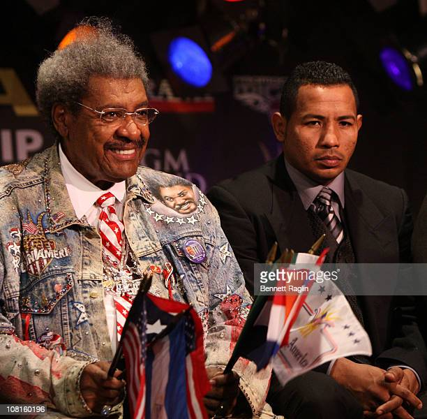 Promoter Don King and boxer Ricardo Mayorga attend the Bob Arum and Don King press conference to announce Miguel Cotto vs Ricardo Mayorga at BB King...