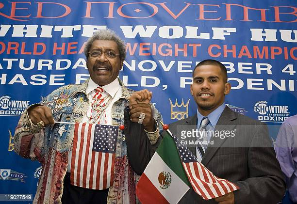 Promoter Don King announces the signing of unbeaten 23 year old WBA Lightweight Champion Juan Baby Bull Diaz at Gallagher's Steakhouse in New York...