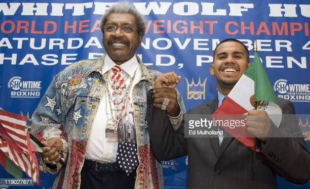 Promoter Don King announces the signing of unbeaten 23 year old WBA Lightweight Champion Juan 'Baby Bull' Diaz at Gallagher's Steakhouse in New York...