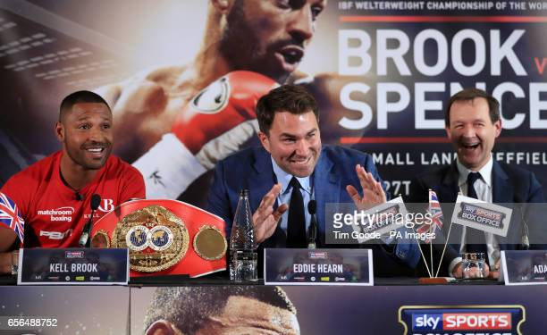 Promoter Eddie Hearn alongside Kell Brook and Sky Sports' Adam Smith during the press conference at Bramall Lane Sheffield