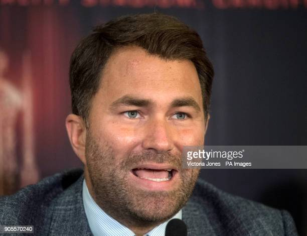 Promoter Eddie Hearn during the press conference at the Dorchester Hotel London