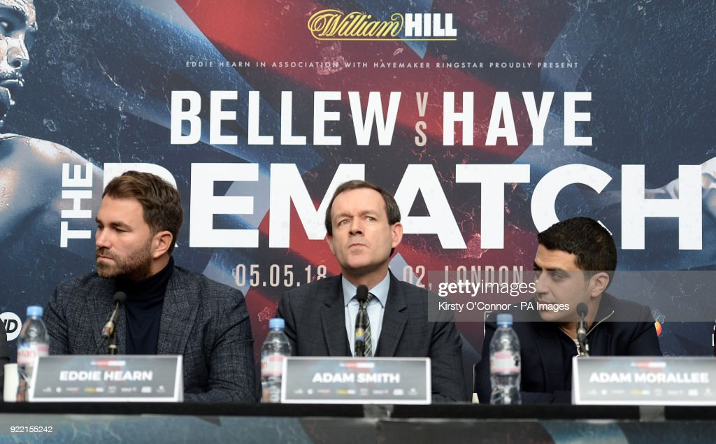 promoter Eddie Hearn, Sky Sports head of boxing Adam Smith and manager Adam Morallee during the press conference at Park Plaza Westminster Bridge, London. PRESS ASSOCIATION Photo. Picture date: Wednesday February 21, 2018. See PA story BOXING London. Photo credit should read: Kirsty O'Connor/PA Wire