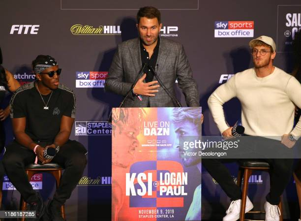 Promoter Eddie Hearn speaks onstage as KSI and Logan Paul look on during the KSI VS Logan Paul 2 Final Press Conference at TAO Hollywood on November...