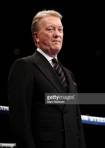 Promoter Frank Warren in the ring before the Terry Flanagan and Orlando Cruz WBO World lightweight title fight at Motorpoint Arena on November 26...
