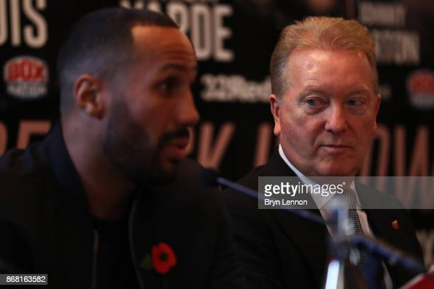 Promoter Frank Warren listens to IBF supermiddleweight title holder James DeGale during a press conference at The Landmark Hotel on October 30 2017...