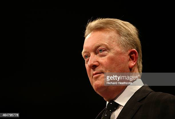 Promoter Frank Warren looks on before Chris Eubank Jnr fights Dmitry Chudinov for the WBA Interim World Middleweight Championship at the O2 Arena on...