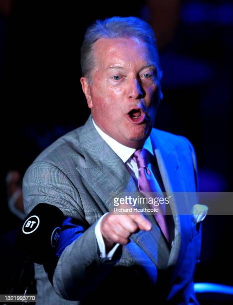 Promoter, Frank Warren reacts after the Middleweight fight between Nathan Heaney and Iliyan Markov at Telford International Centre on June 05, 2021...