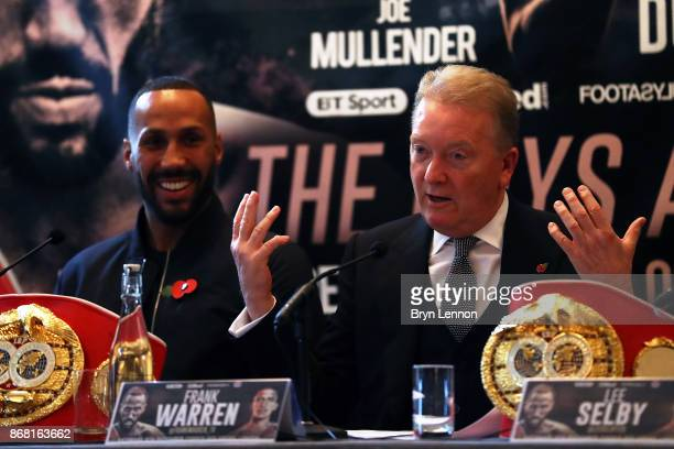 Promoter Frank Warren talks to the media during a press conference at The Landmark Hotel on October 30 2017 in London England