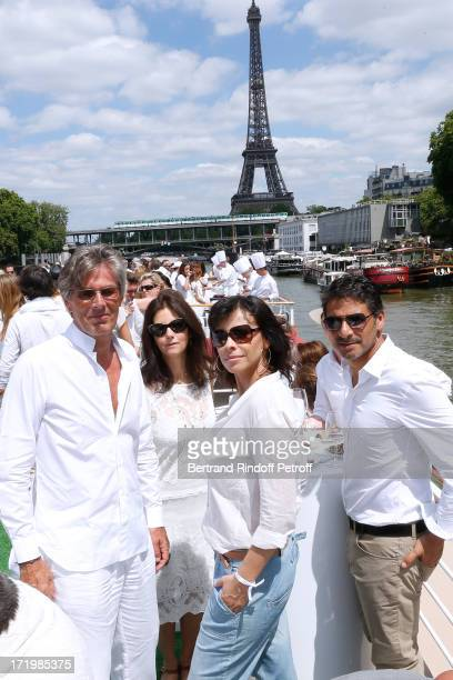 Promoter of the day CEO Barriere Group Dominique Desseigne Cristiana Reali Mathilda May and Pascal Elbe attend 'Brunch Blanc' hosted by Groupe...