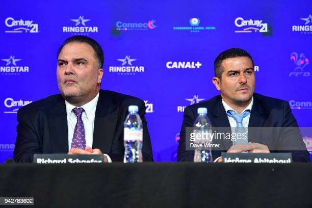 US promoter Richard Schaefer and French promoter Jerome Abiteboul during the press conference and weigh in on April 6 2018 in Paris France