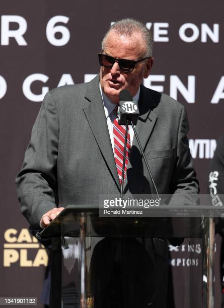 Promoter Tom Brown during a press conference ahead of a super middleweight fight between Canelo Alvarez and Caleb Plant on November 6 at The Beverly...