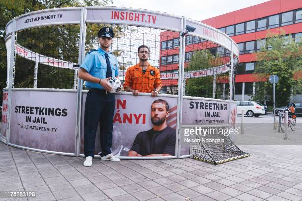 """Promoters are seen during the launch event for Insight TV's new show """"Streetkings in Jail"""" on September 17, 2019 in Munich, Germany."""
