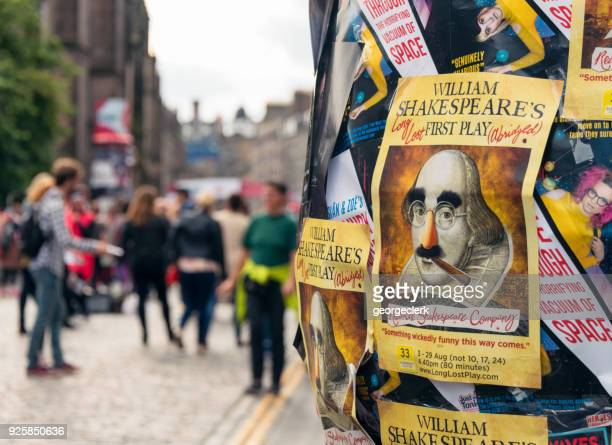 promoting shows in the edinburgh festival fringe - flyer leaflet stock pictures, royalty-free photos & images