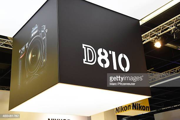 D810 promotion at the Nikon booth of the Photokina 2014 trade fair on September 15 2014 in Cologne Germany Photokina is the world's largest trade...