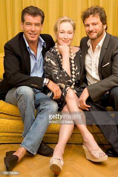 Promotion Of Movie 'Mamma Mia' L'équipe du film 'Mamma Mia ' photographié en exclusivité pour Paris Match à Stockholm la ville d'Abba Pierce BROSNAN...