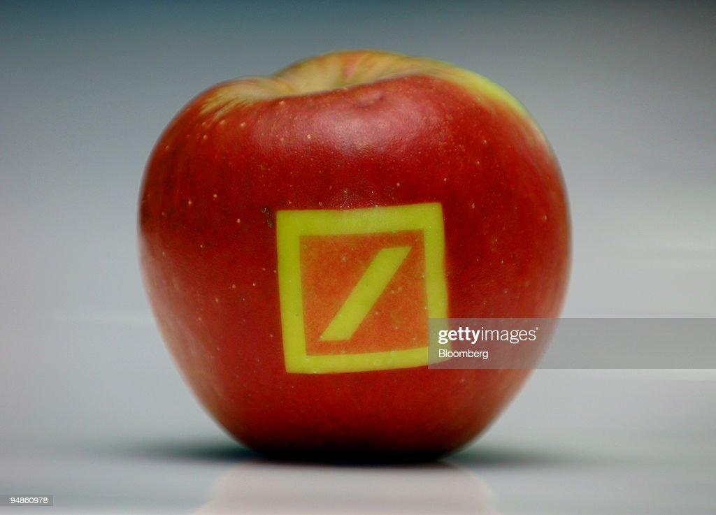 A promotional apple featuring the Deutsche Bank logo is seen in Frankfurt, Germany, Thursday, September 22, 2005.