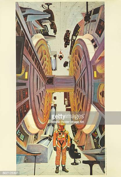 A promotional artwork movie poster designed by Robert McCall for Stanley Kubrick's 1968 science fiction film '2001 A Space Odyssey'