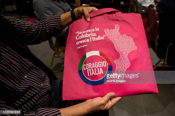 """Promotional bag with the message """"if Calabria grows, Italy grows"""". At the regional electoral campaign, Mayor of Venice and President of the new..."""