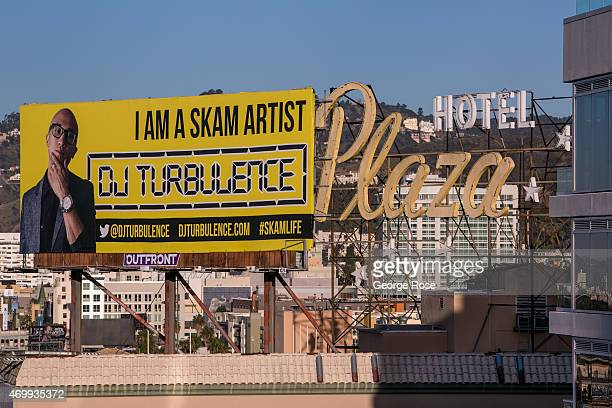 A promotional billboard adorns the roof of the Plaza Hotel as viewed from the W Hotel rooftop on Hollywood Boulevard on March 23 2015 in Hollywood...