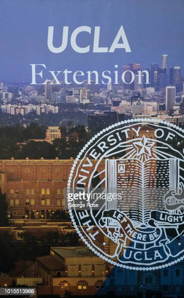 Promotional billboard for UCLA's Extension education programs is viewed along Gayley Avenue in Westwood Village on August 7, 2018 in Los Angeles,...