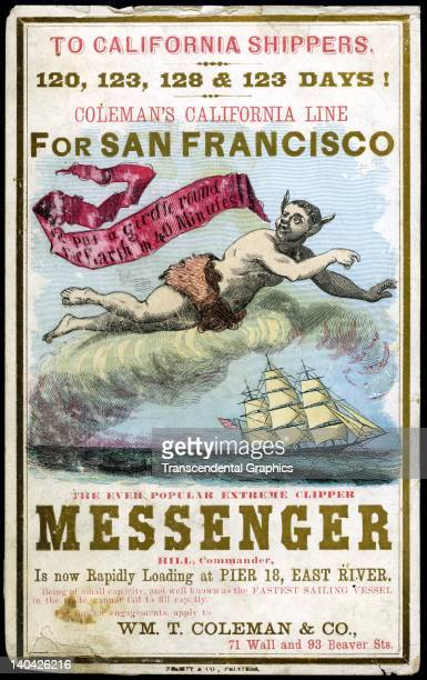 A promotional card for the cllipper ship Messenger sailing for San Francisco and the California gold fields was printed on coated stock by Nesbit...