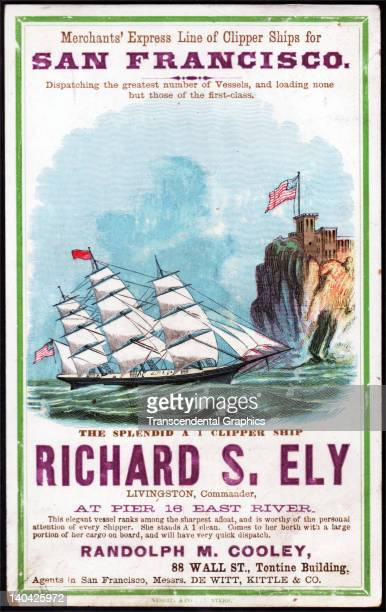 A promotional card for the cllipper ship Richard S Ely sailing for San Francisco and the California gold fields was printed on coated stock by Nesbit...