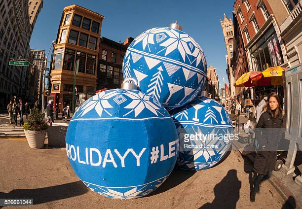 """Promotional event for Skyy Vodka in Union Square in New York uses the craft of 'knit bombing"""" to wrap promotional items with yarn. Knit bombing,..."""