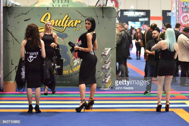 Promotional girls welcome visitors at the Vape Jam UK 4 at ExCel on April 6 2018 in London England Vape Jam UK the premier Electronic Cigarette and...