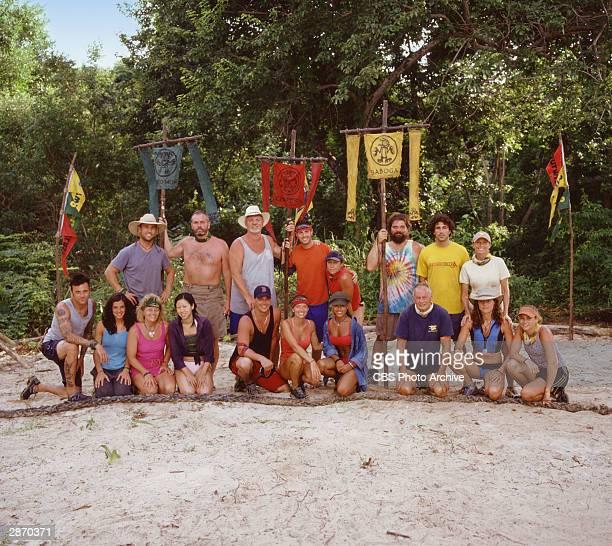 Promotional group portrait of the 18 castmembers of 'Survivor AllStars' Colby Donaldson Richard Hatch Tom Buchanan Rob Cesternino Susan Hawk Rupert...