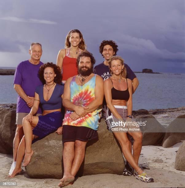 Promotional group portrait of the Saboga tribe from 'Survivor AllStars' Rudy Boesch Jerri Manthey Jenna Lewis Rupert Boneham Ethan Zohn and Tina...