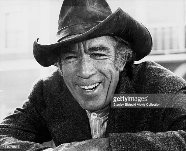 Promotional headshot of actor Anthony Quinn as he appears in the movie 'Deaf Smith and Johnny Ears' 1973