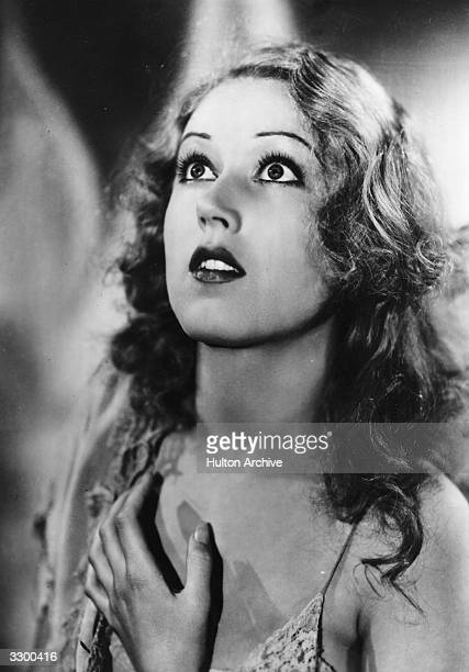 Promotional headshot of actor Fay Wray holding her hand to her chest from the film 'King Kong' directed by Merian Cooper and Ernest Schoedsack 1933