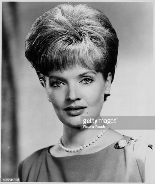 Promotional headshot of actress Florence Henderson wearing a pearl necklace circa 1960