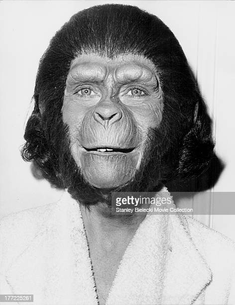 Promotional headshot of actress Natalie Trundy in 'ape' makeup as she appears in the movie 'Conquest of the Planet of the Apes' 1972