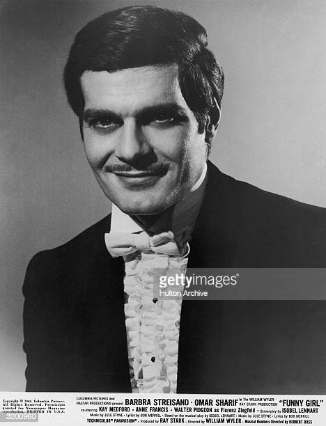 Promotional headshot of Egyptian actor Omar Sharif as Nicky Arnstein in Austrian director William Wyler's film 'Funny Girl'