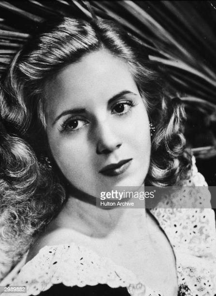 Promotional headshot portrait of Argentinean singer actress and first lady Eva Duarte Peron circa 1940s