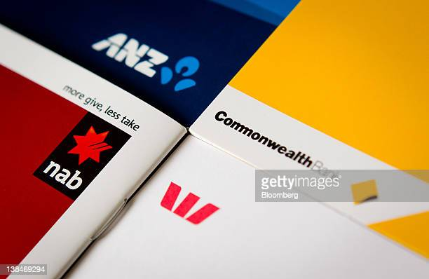 Promotional material from Australian banks the Commonwealth Bank of Australia clockwise from right Westpac Banking Corp National Australia Bank Ltd...