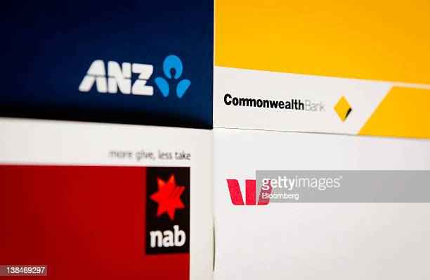 Promotional material from Australian banks the Commonwealth Bank of Australia clockwise from top right Westpac Banking Corp National Australia Bank...