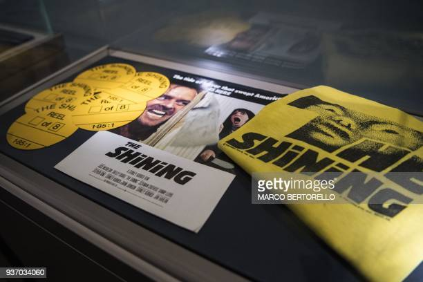 Promotional objects for the film The Shining from the collection Cinema Stanley Kubrick are displayed at the Aste Bolaffi auction house in Turin on...