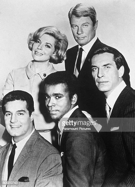Promotional portait of the cast of the television series 'Mission Impossible' circa 1967 Left to right Peter Lupus Barbara Bain Greg Morris Peter...