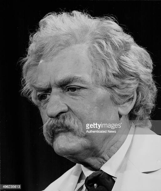 Promotional portrait of actor Hal Holbrook in costume as author Mark Twain for his one man show 'Mark Twain Tonight' at 41st Street Theatre New York...