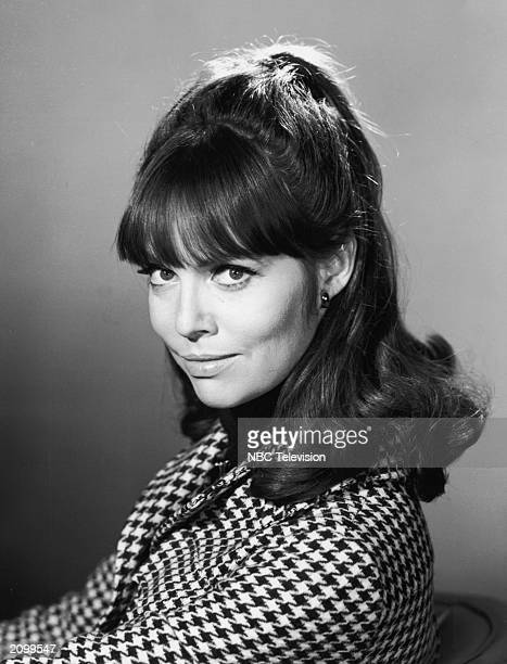 Promotional portrait of American actor Barbara Feldon wearing a hound's tooth jacket for the television program 'Get Smart' circa 1967