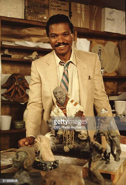 Promotional portrait of American actor Billie Dee Williams as he poses with an assortment of maquettes on the set of 'Classic Creatures Return of the...