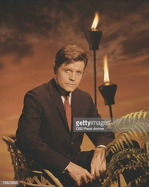 Promotional portrait of American actor Jack Lord born John Joseph Patrick Ryan in character as Steve McGarrett from the television police crime drama...