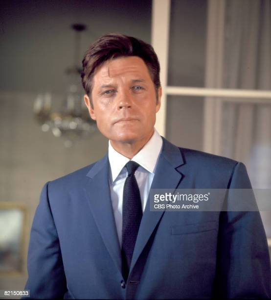 Promotional portrait of American actor Jack Lord in character as Steve McGarrett in a scene from an episode of the television police crime drama...