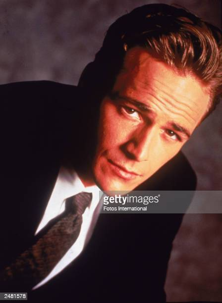 Promotional portrait of American actor Luke Perry from the television series 'Beverly Hills' circa 1995